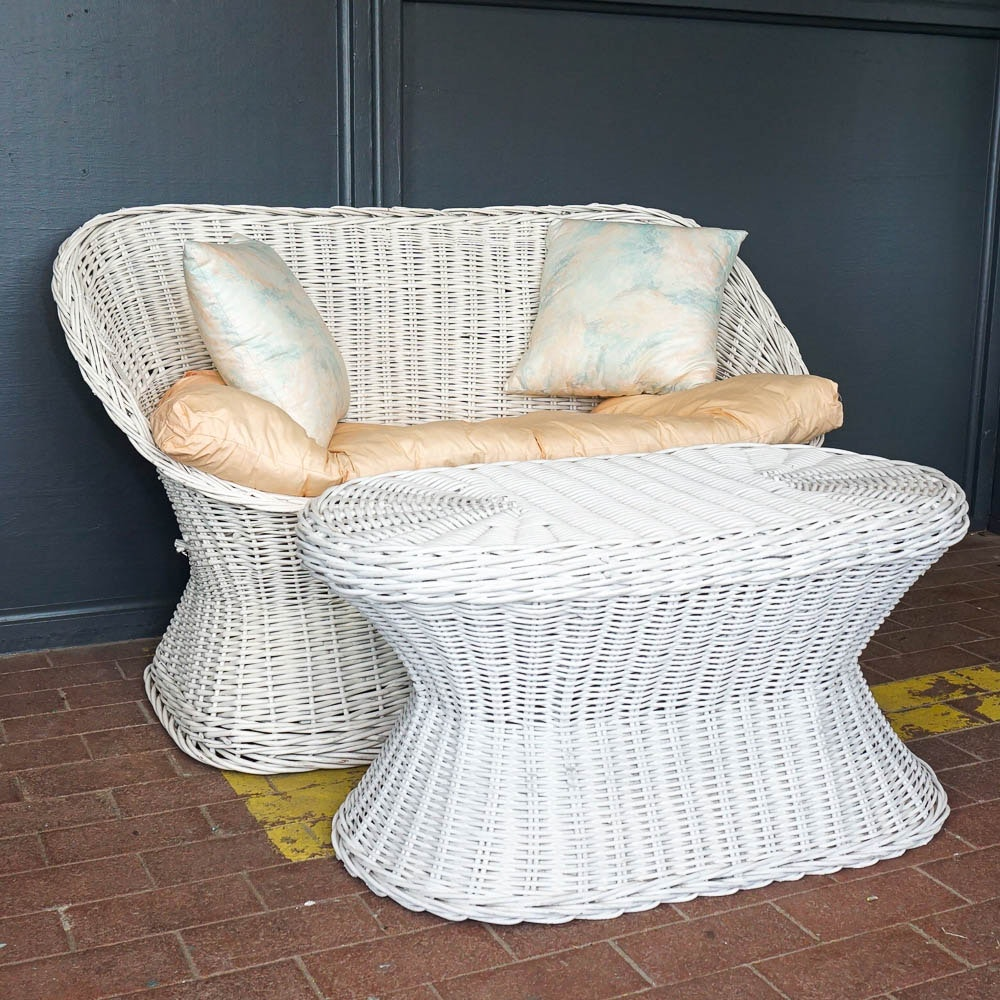 White Wicker Loveseat and Table