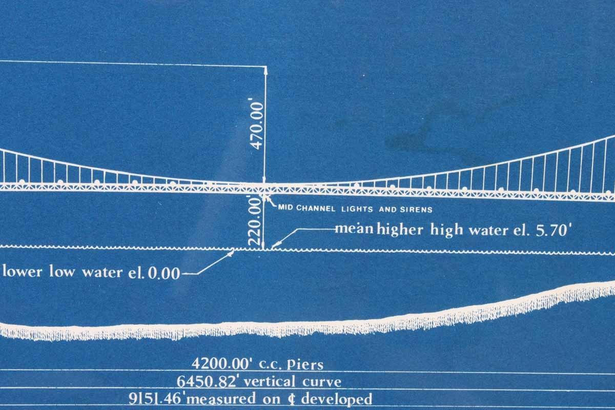Framed Golden Gate Bridge Blueprint Ebth