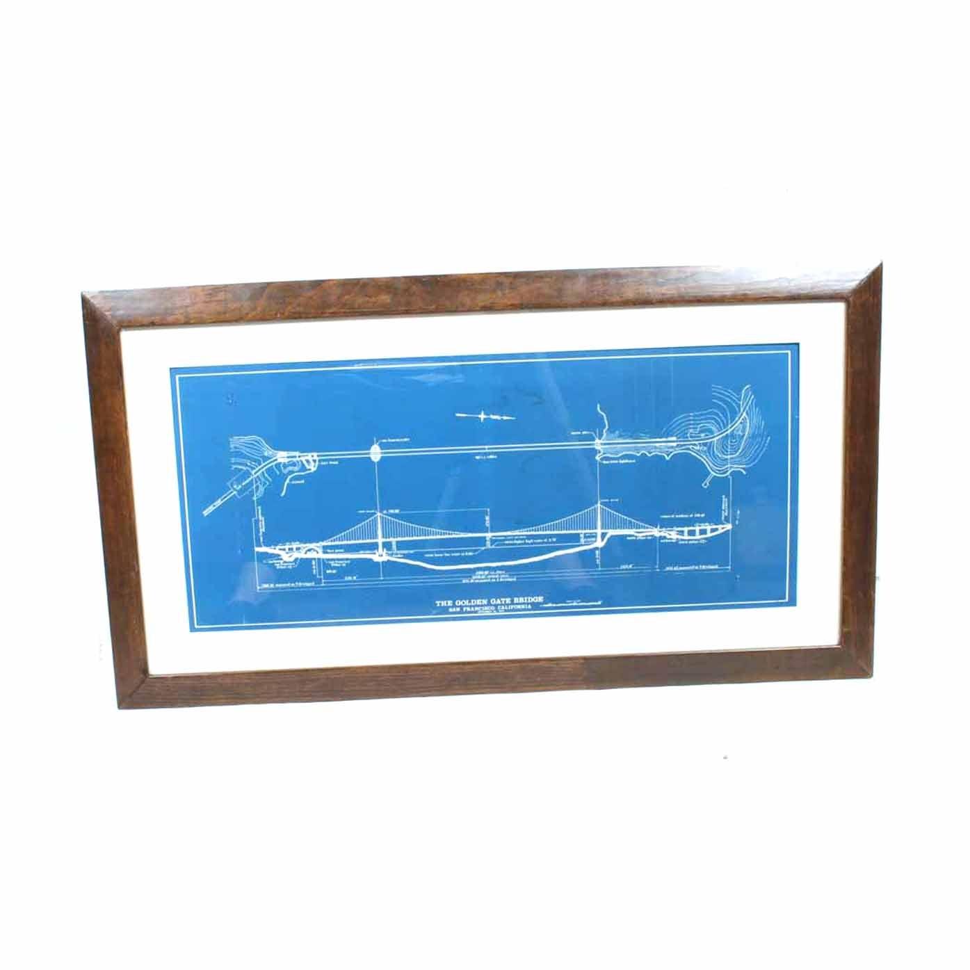 Framed Golden Gate Bridge Blueprint ...
