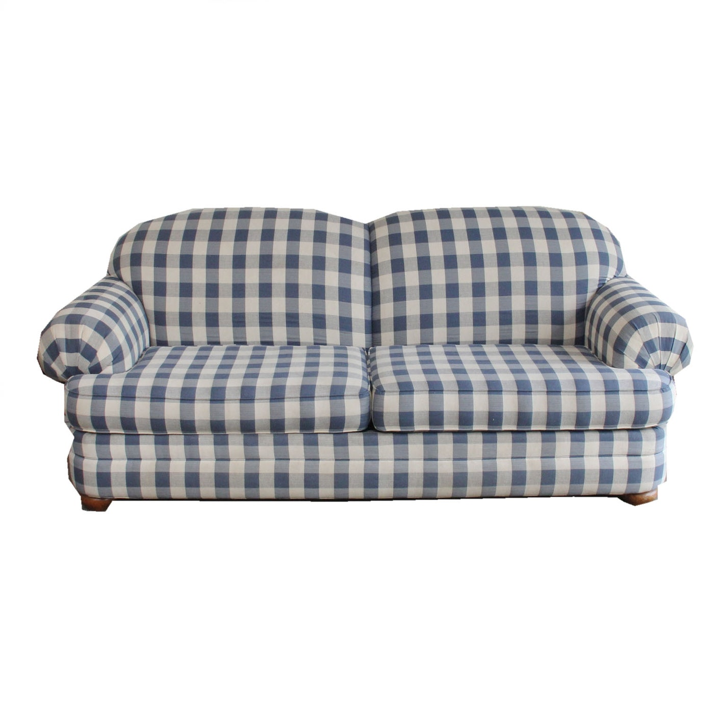 Broyhill blue and white plaid sleeper sofa ebth for Blue and white sofa