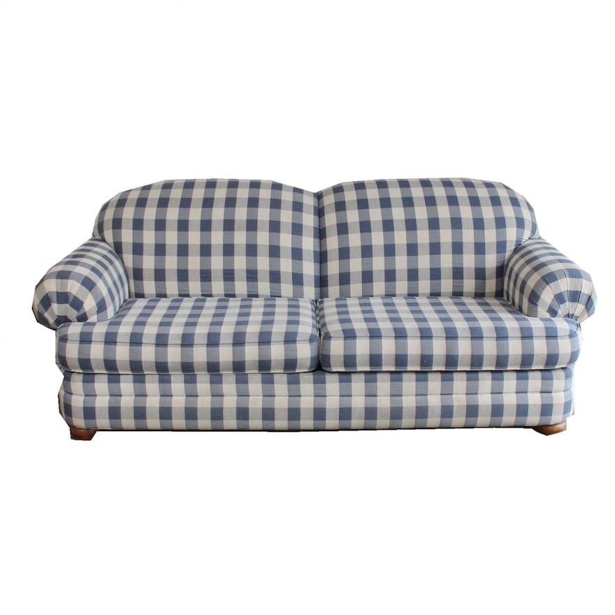 Broyhill Blue And White Plaid Sleeper Sofa