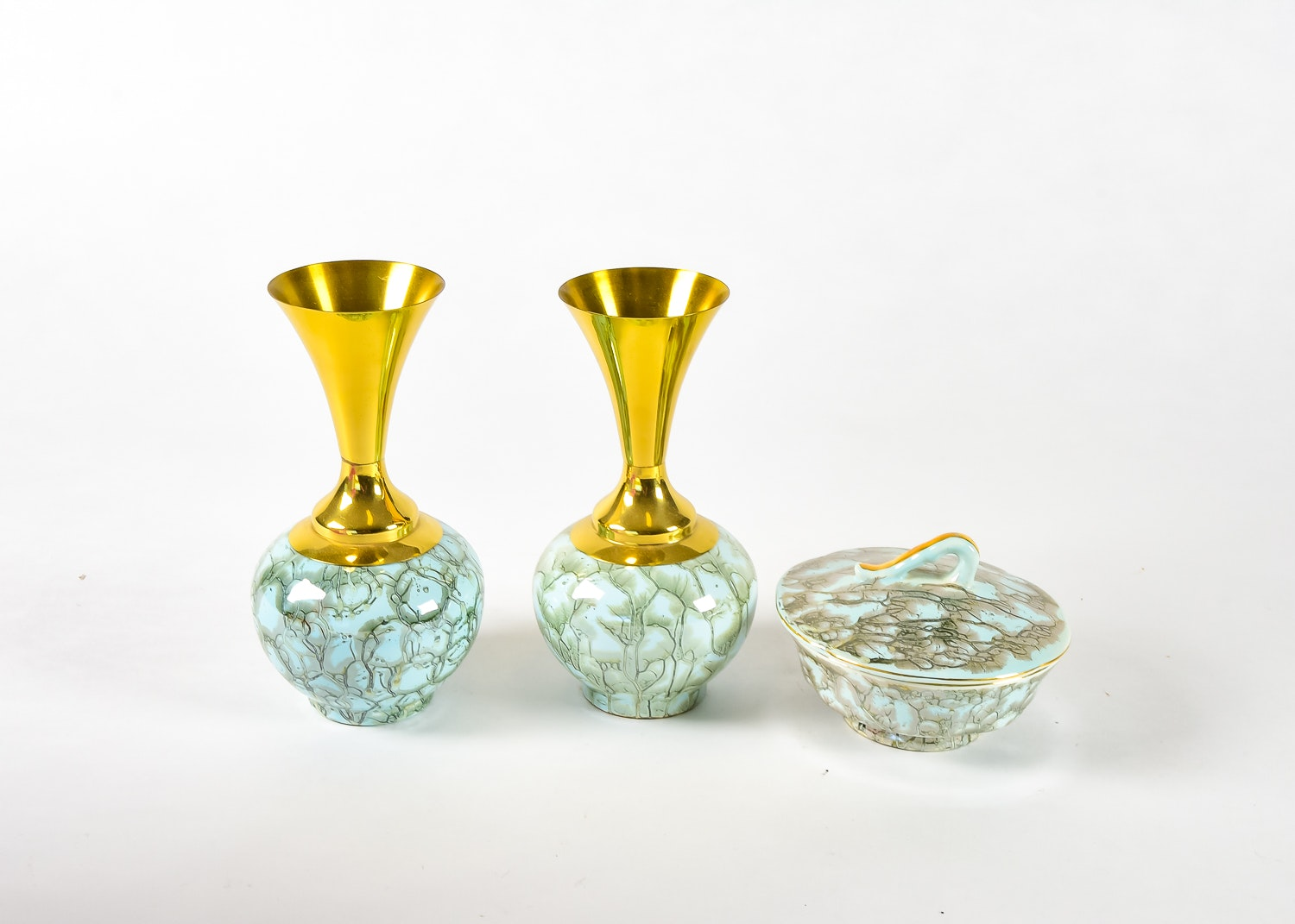 Pair of Hand-Painted Vases and a Matching Bowl