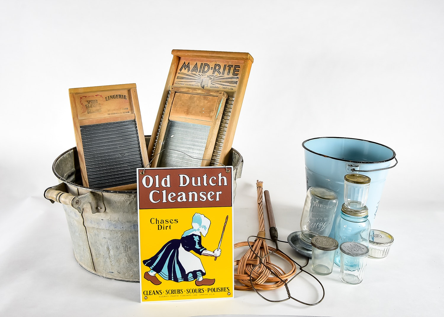 Vintage Laundry Assortment with Glass Jars