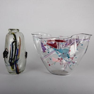 Pair of Signed Postmodern Art Glass Vases