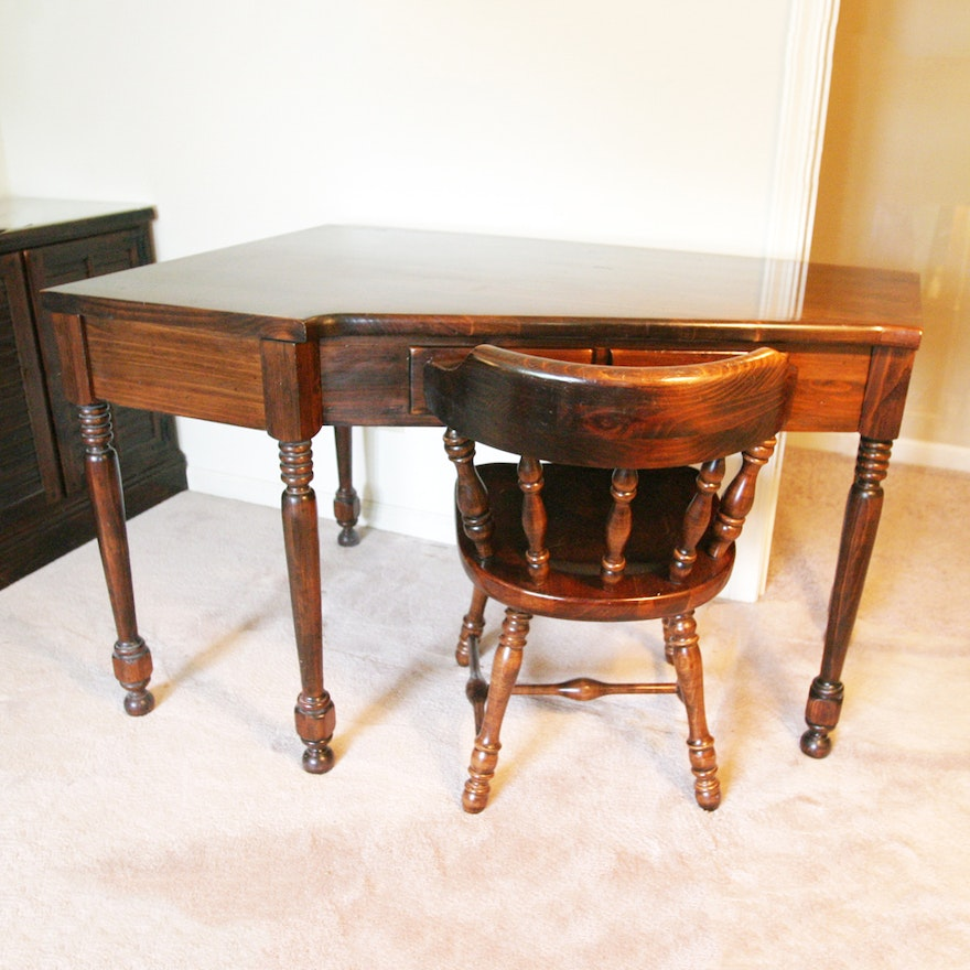 Vintage Ethan Allen Corner Desk and Chair ... - Vintage Ethan Allen Corner Desk And Chair : EBTH