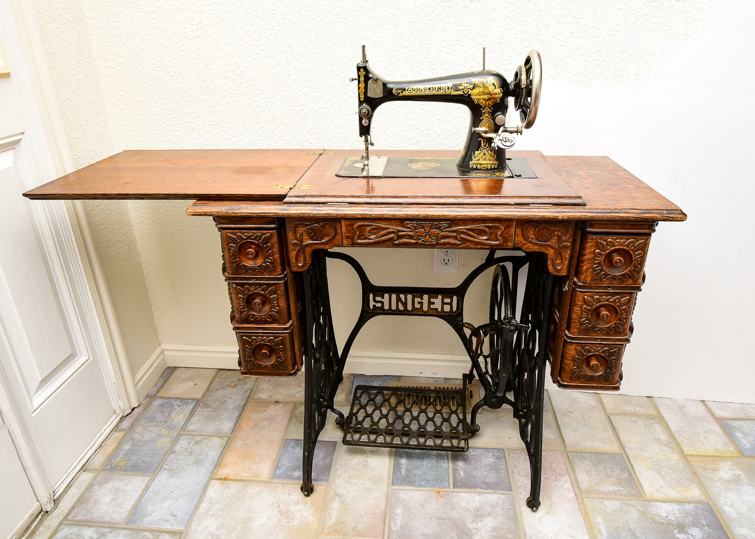 Ornate Antique Singer Sewing Machine and Table