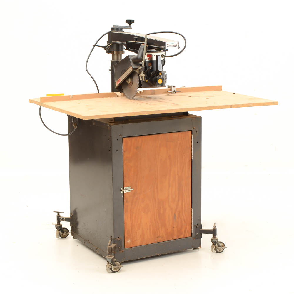 Vintage Craftsman Radial Arm Saw With Storage Cabinet : EBTH