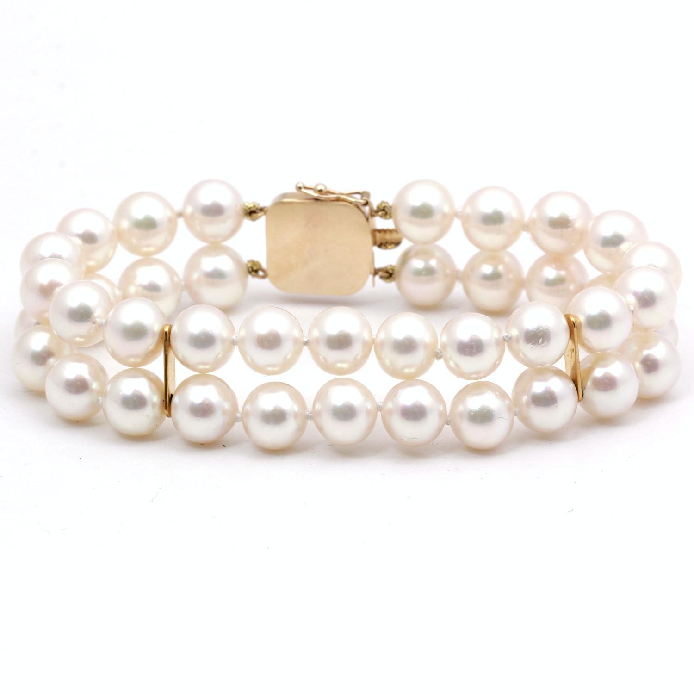 Akoya Pearl Double Strand Bracelet with 14K Gold & Diamond Clasp