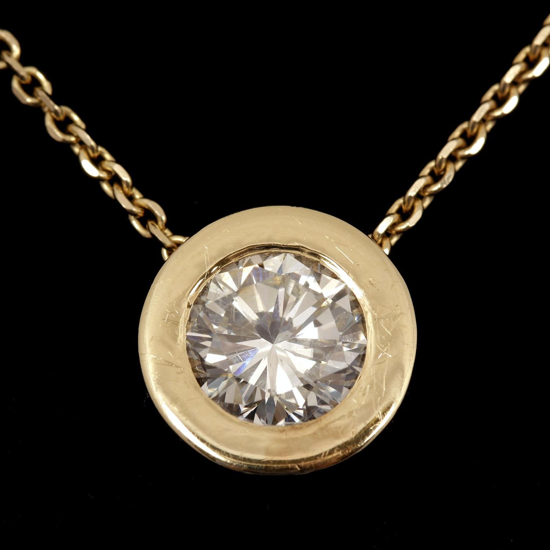 2.95 Carat Diamond Solitaire Pendant on 14K Yellow Gold Chain