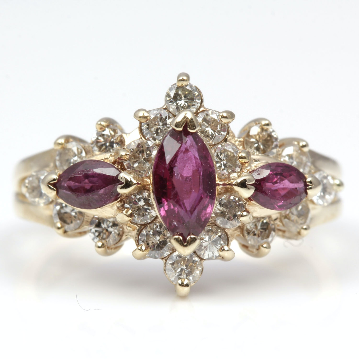 14K Yellow Gold 1.20 Carat Diamond and Ruby Ring