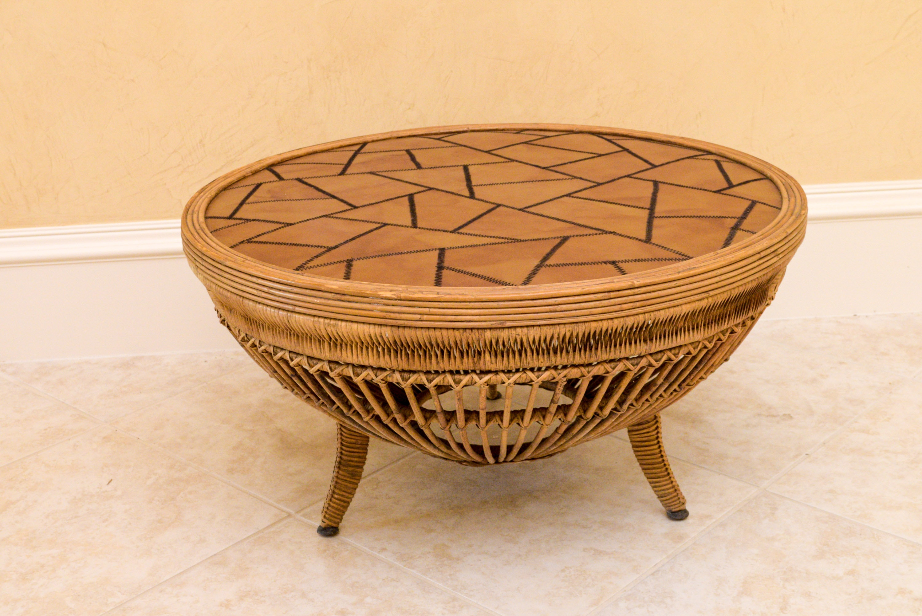 Drum Table with Leather Top and Rattan Base