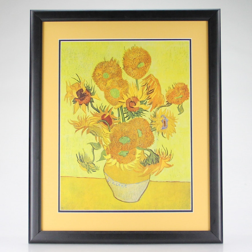 Offset Lithograph Vase With Fifteen Sunflowers After Vincent Van
