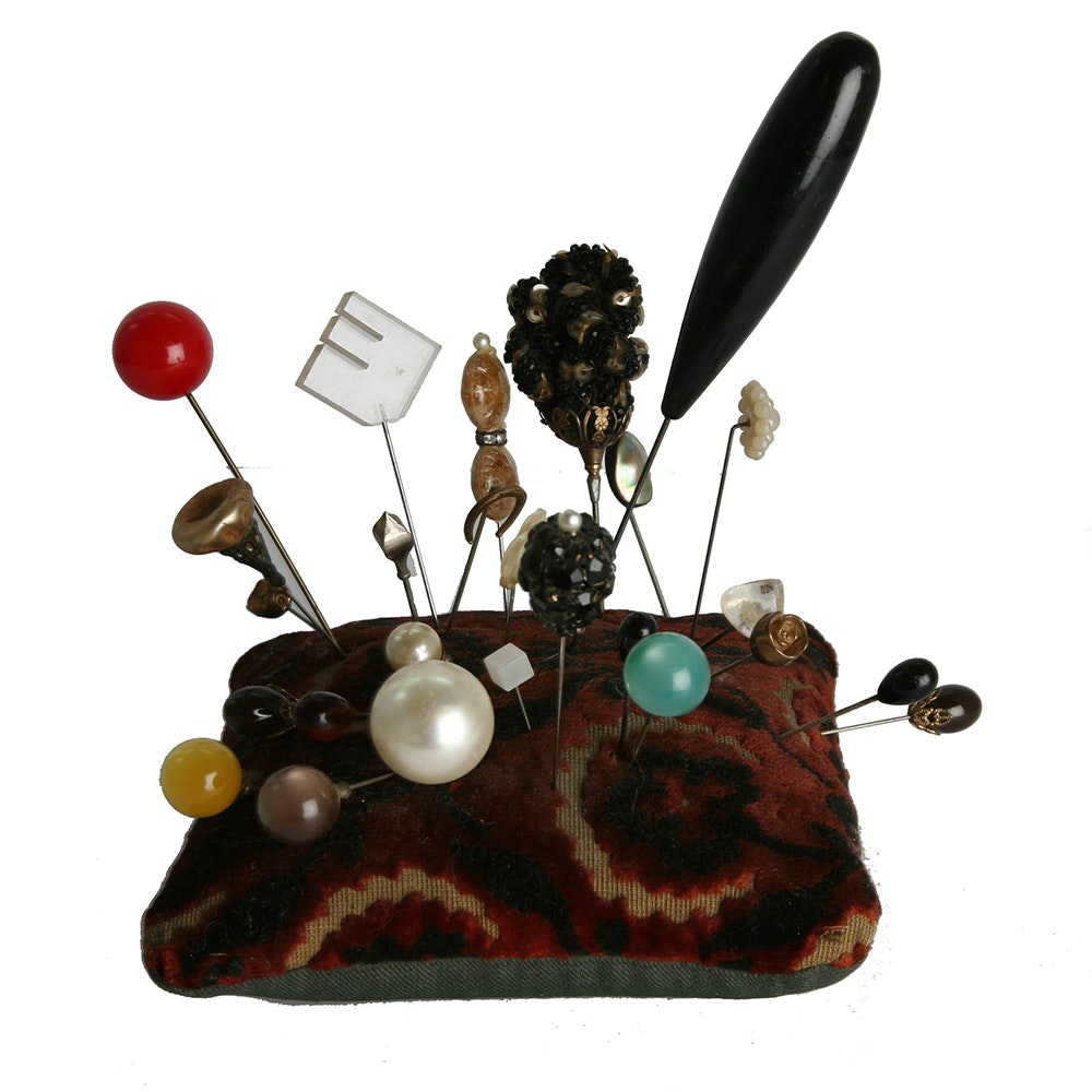 Collection of Hat Pins with Pin Cushion