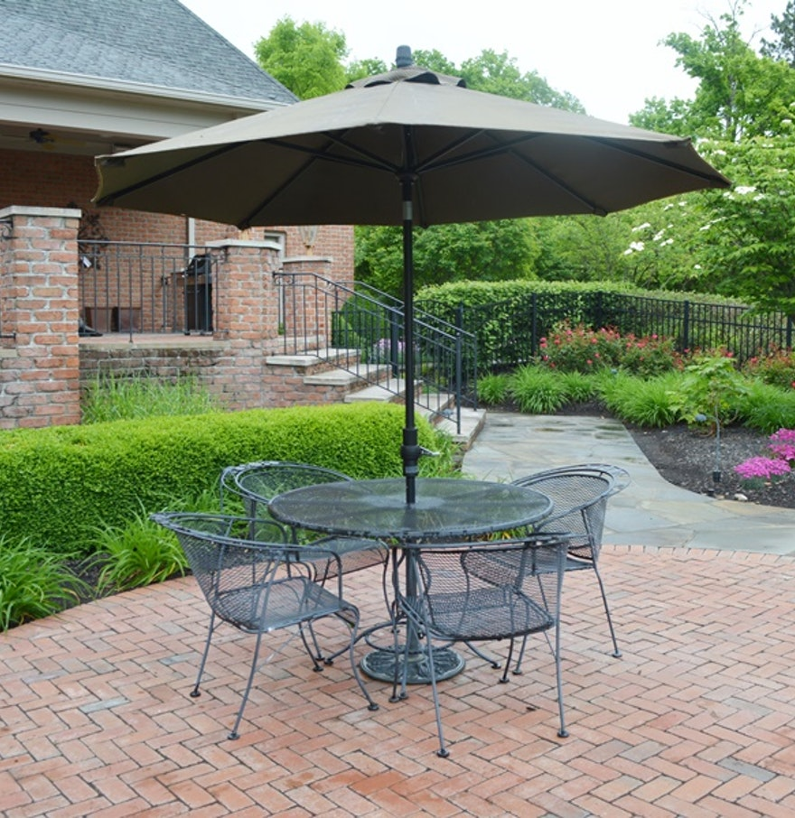 Wrought iron patio table four chairs and umbrella ebth for Small patio table and 4 chairs