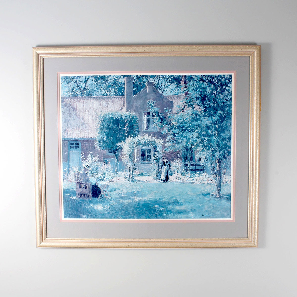 Offset Lithograph of a Cottage Scene