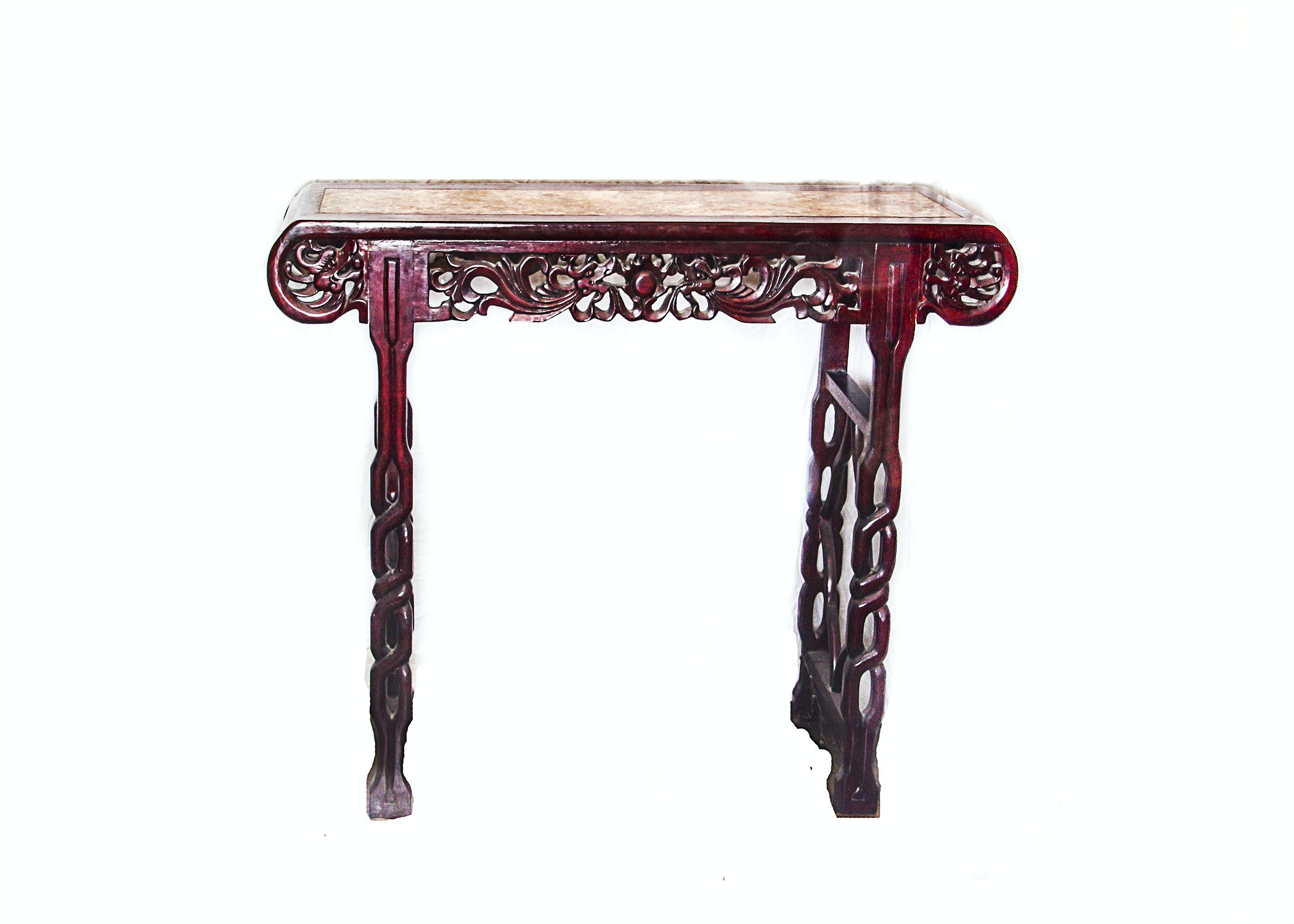 Carved Cherry Asian Side Table with Decorative Marble Inlay