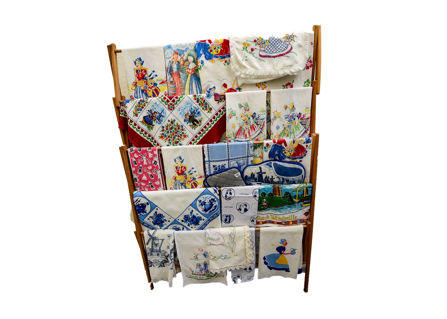 Vintage Wood Rack with Collection of Dutch Tea Towels