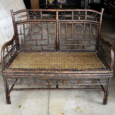 Vintage Cane and Wood Bench