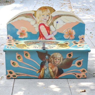 Original Hand-Painted Storage Bench by Warren Long