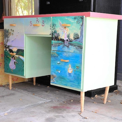 Painted Wood Children's Desk