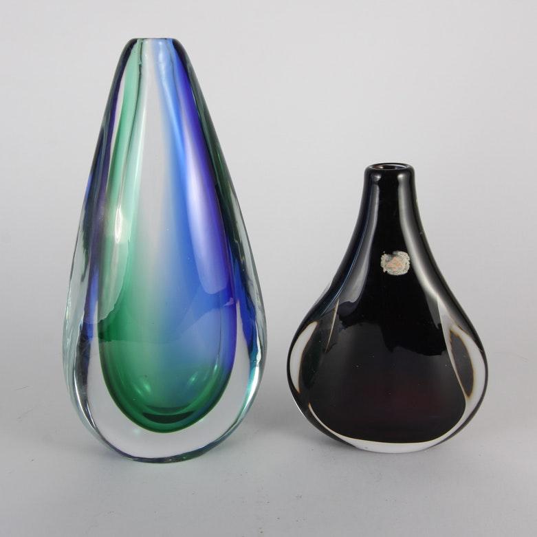 Pair of Teardrop Glass Vases