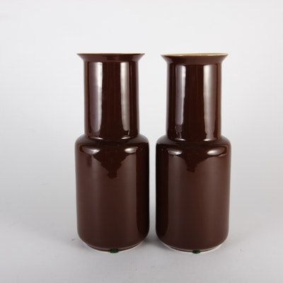 Pair of Vintage Brown Porcelain Vases