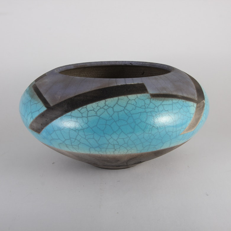 Signed Turquoise and Black Pottery Vase