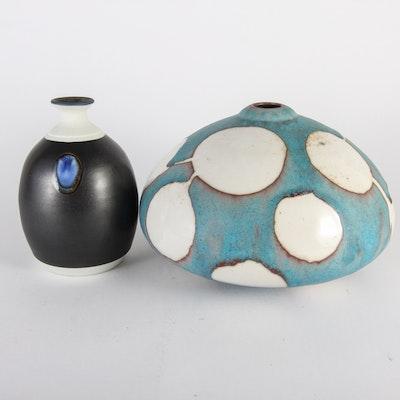 Pair of Artist Signed Ceramic Vases