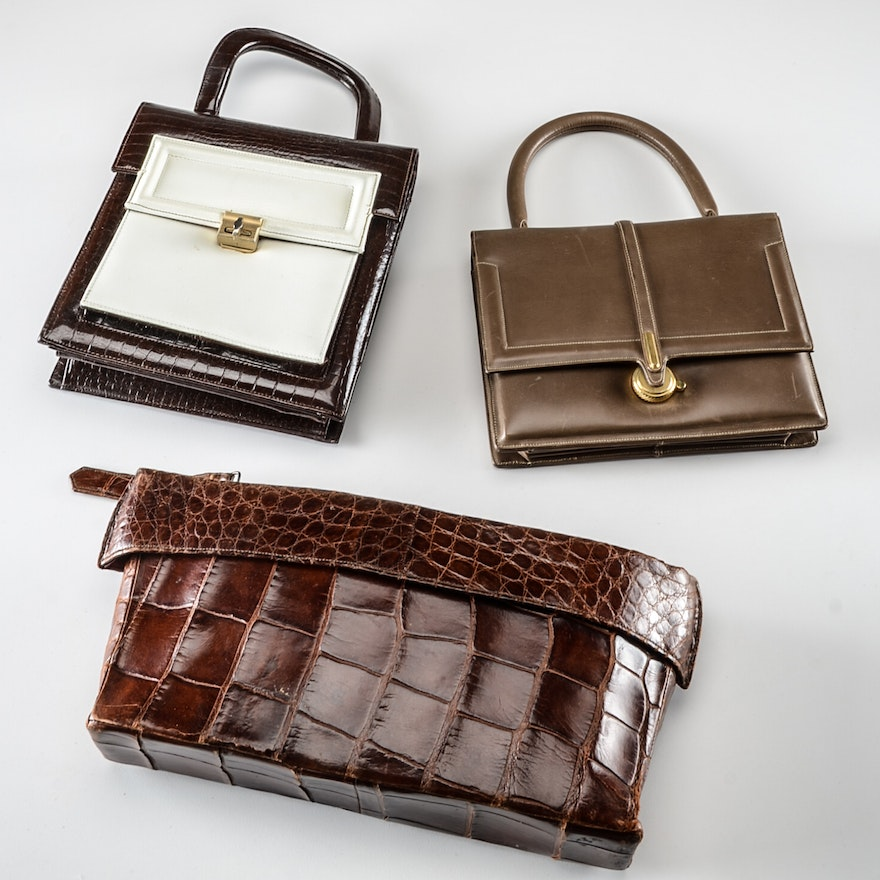 Three Vintage Handbags Including Palizzio Designer Exotic Skin Leather Purse And Clutch