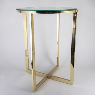 Glass Top and Brass Side Table
