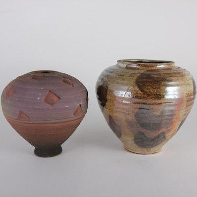 Pair of Tapered  Ceramic Vases