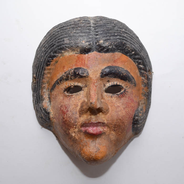 Vintage Terra Cotta Woman Mask from Mexico