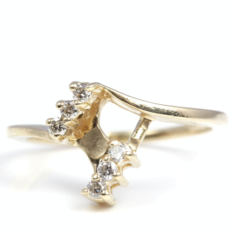 14K Yellow Gold Diamond Ring Guard