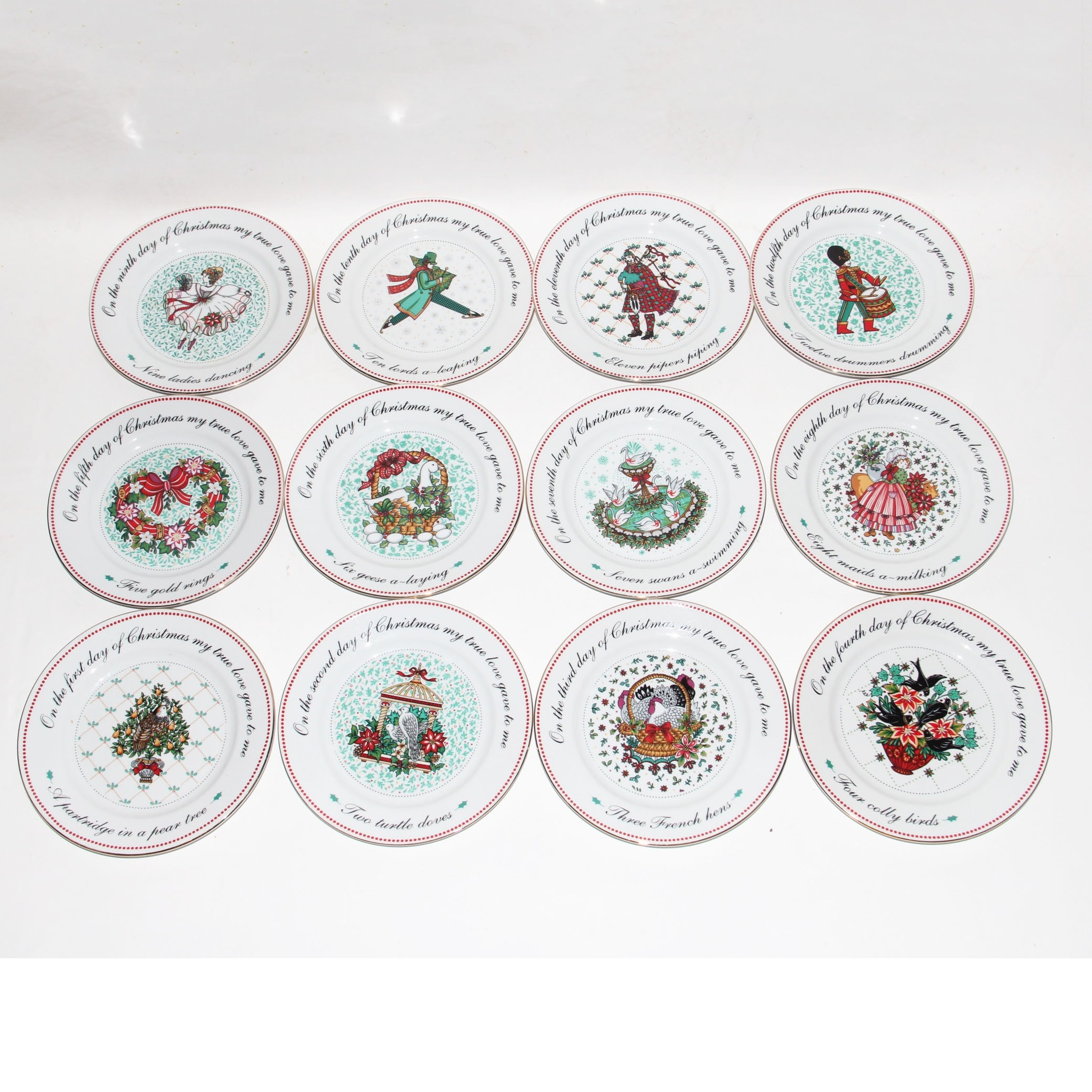 Set of  Twelve Days of Christmas  Decorative Plates ...  sc 1 st  EBTH.com & Set of