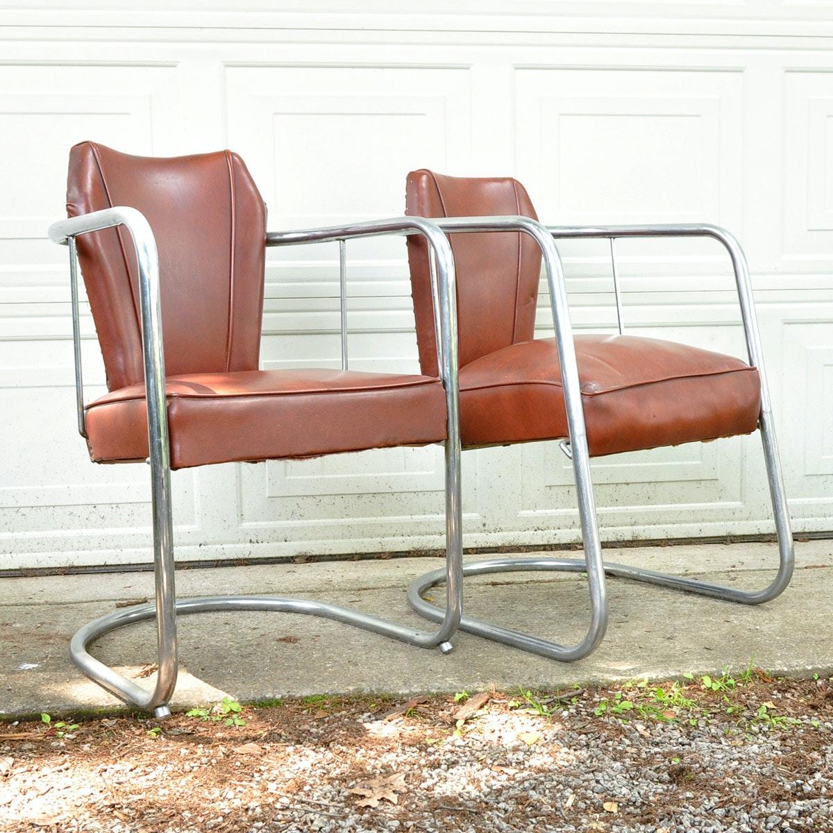 Art Deco Chrome Gilbert Rohde Barrel Chairs ...