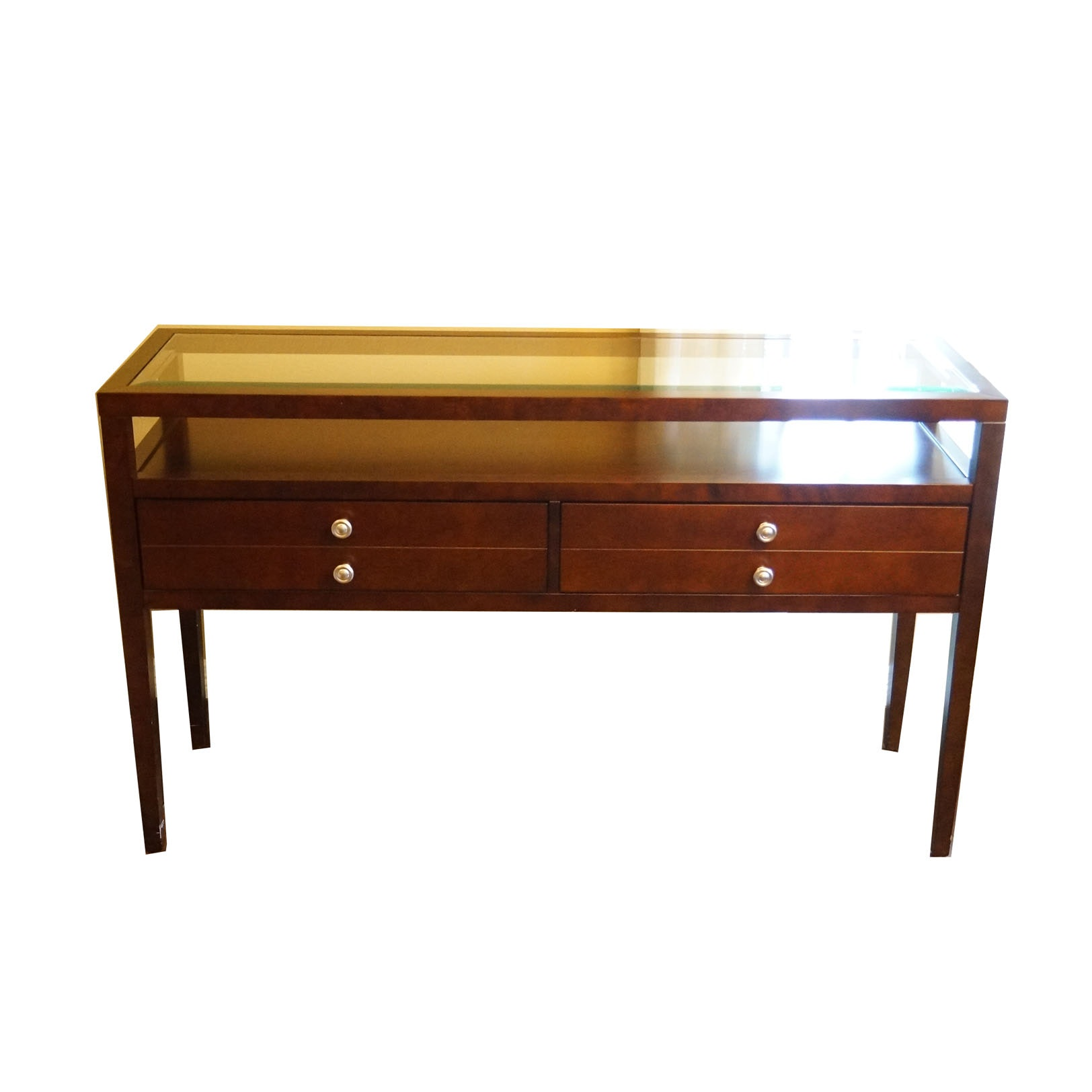 Walnut Finished Glass Top Console Table