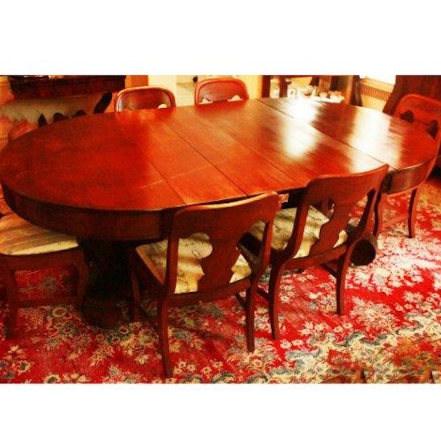 Mahogany Empire Style Dining Table And Six Chairs