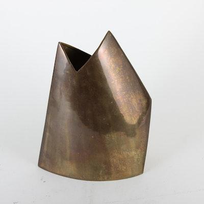 Signed Modernist Brass Sculptural Vase