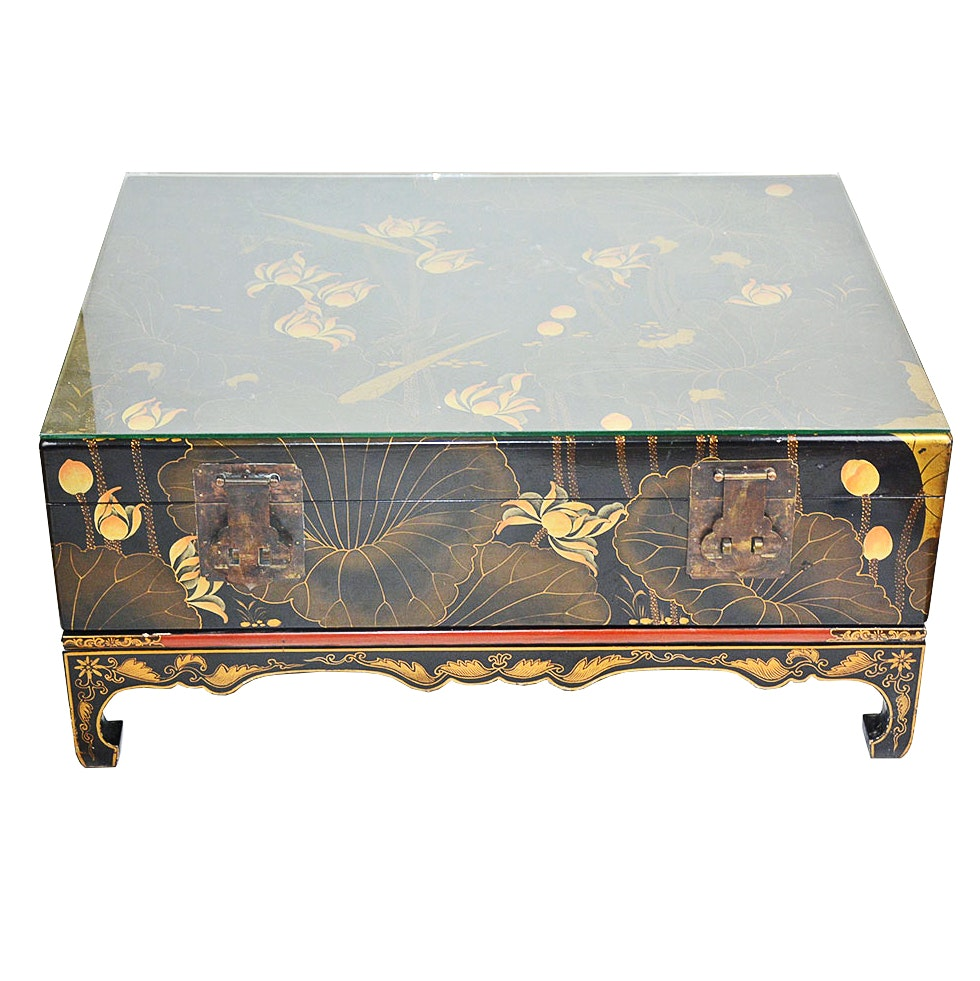 Vintage Asian Black Lacquer Hand Painted Trunk Coffee