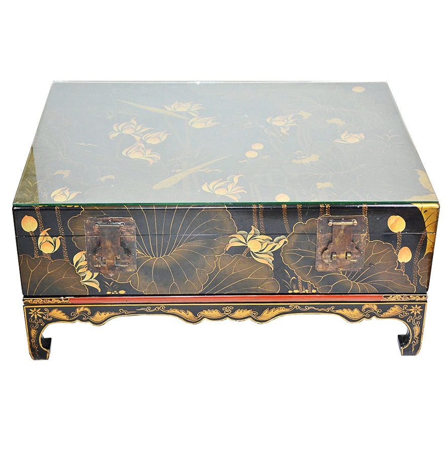 Vintage Asian Black Lacquer Hand Painted Trunk Coffee Table Ebth
