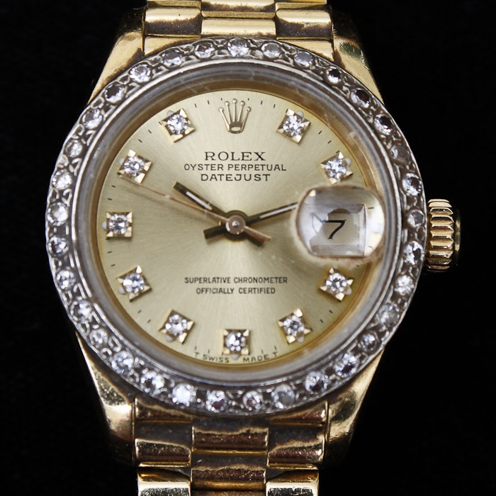 "Rolex ""Lady President"" 18K Gold and Diamond Watch"
