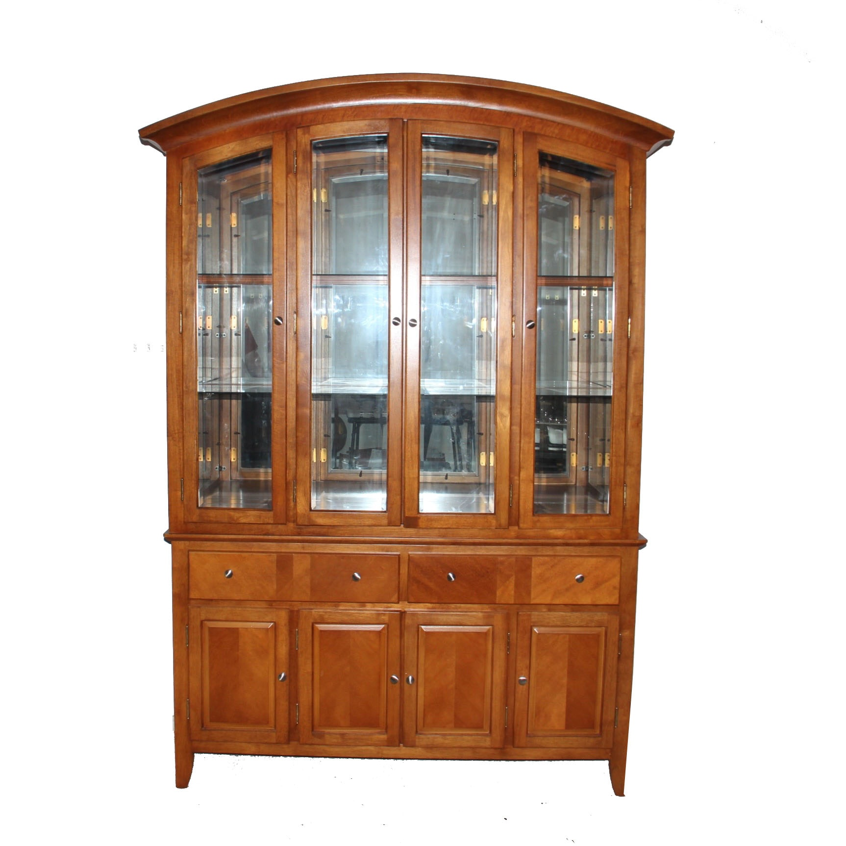 Cherry Finished Bowed Top China Hutch