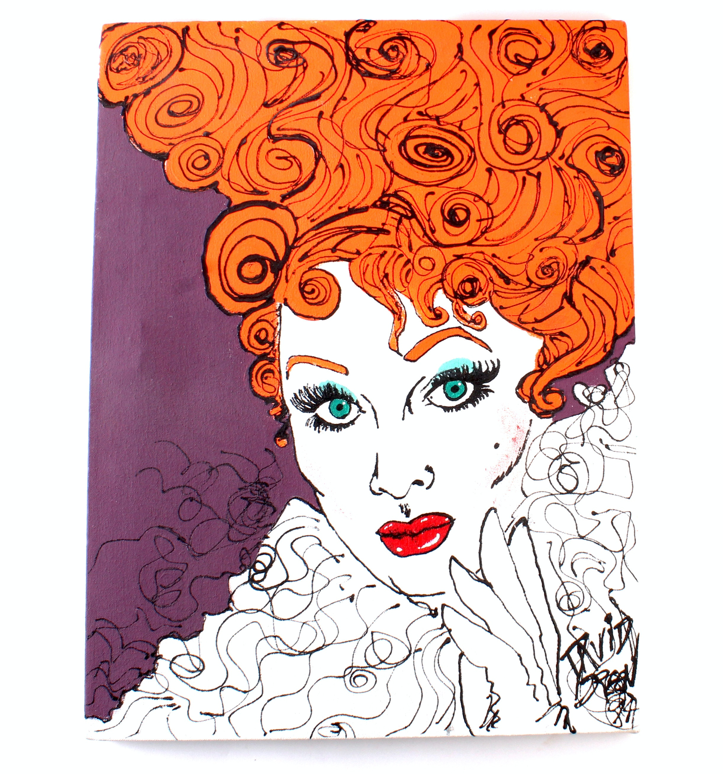 "David Green Original ""Lucille Ball"" Acrylic Painting"