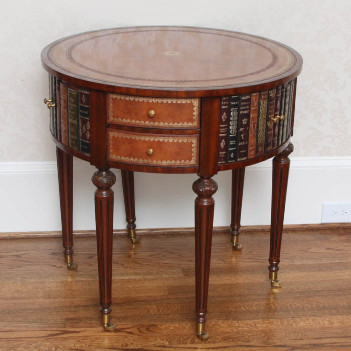 Maitland Smith Leather Top Drum Table ...
