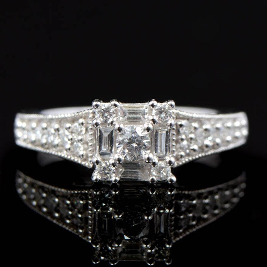 0 50 CTW Diamond and 14K White Gold Keepsake