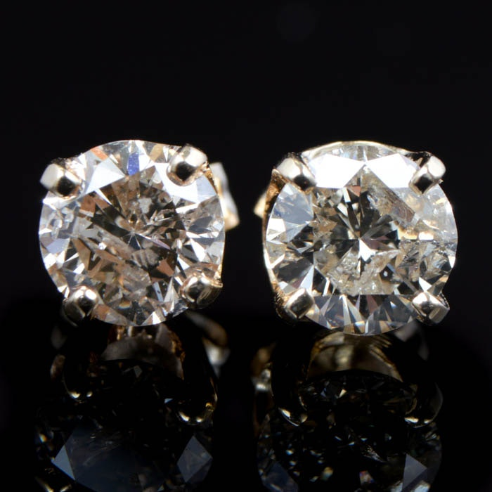 1.00 CTW Round Brilliant Cut Diamond and 14K Yellow Gold Stud Earrings