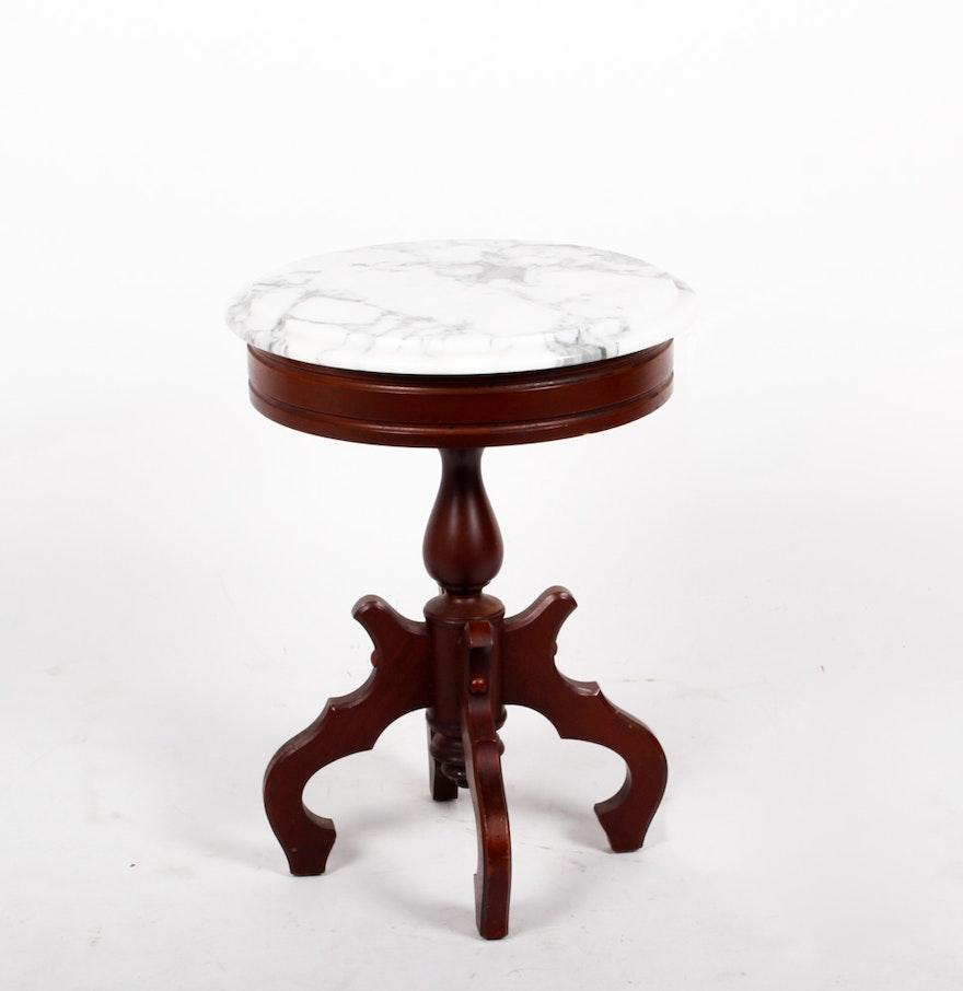white marble end table ebth. Black Bedroom Furniture Sets. Home Design Ideas