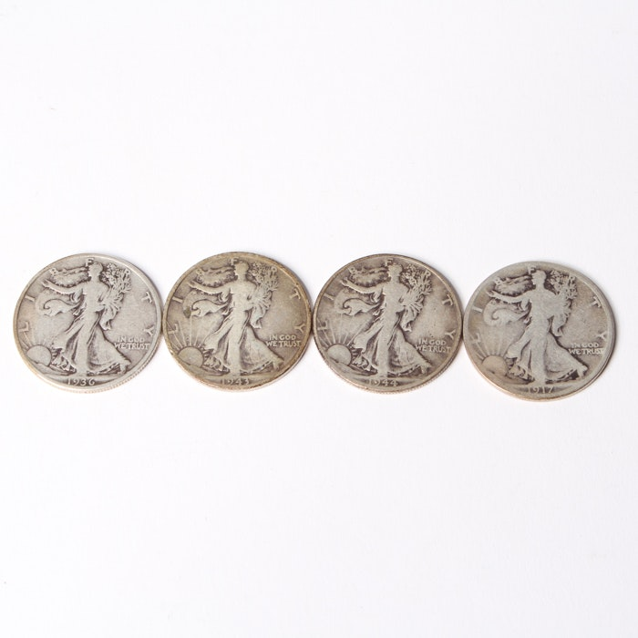Four  Silver Walking Liberty Halves From 1917-1944