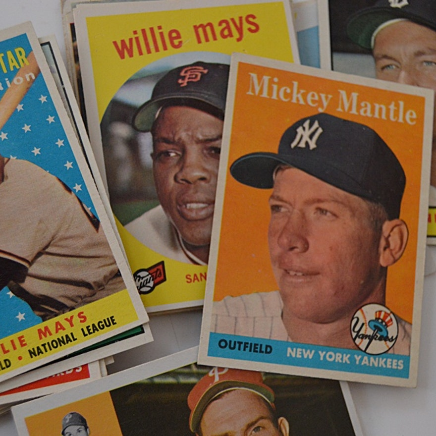 50-60s Baseball Card Collection w/ Mantle, Mays, Musial, Clemente