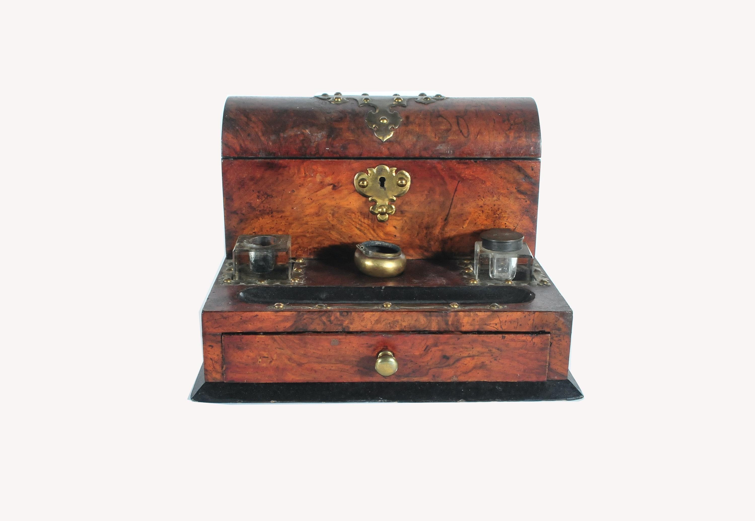 Antique English Burlwood Veneer Desk Stand